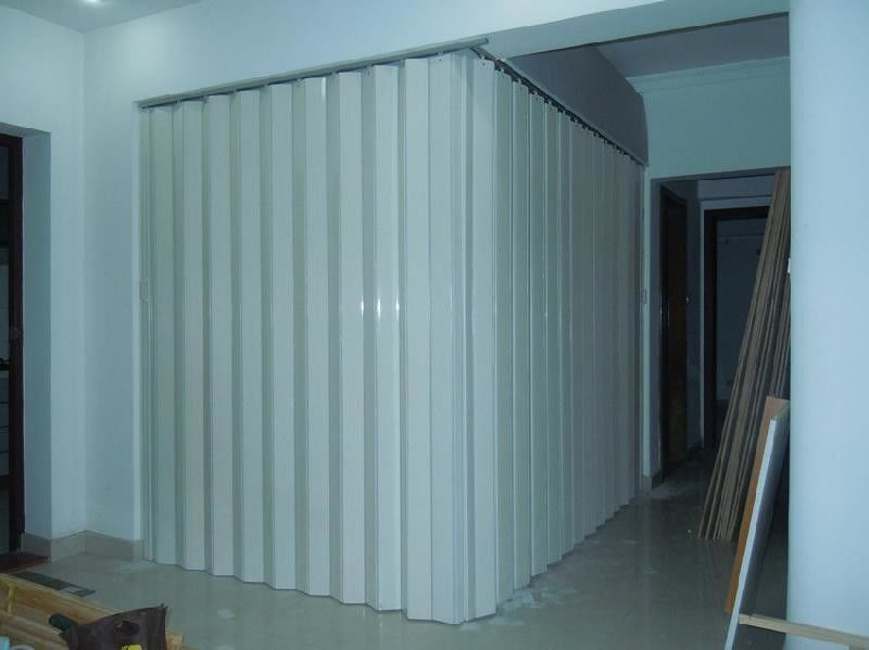 Washable PVC Folding Door Interior , Foldable Toilet Door Moisture Protection